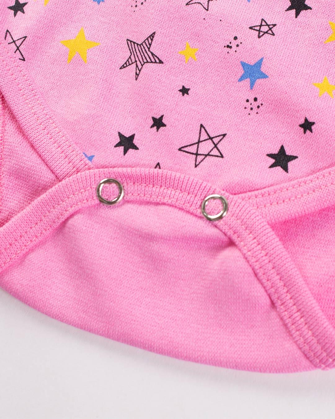 Kit Body 3 Peças Ursinho e Estrelas Rosa - Sorriso Kids