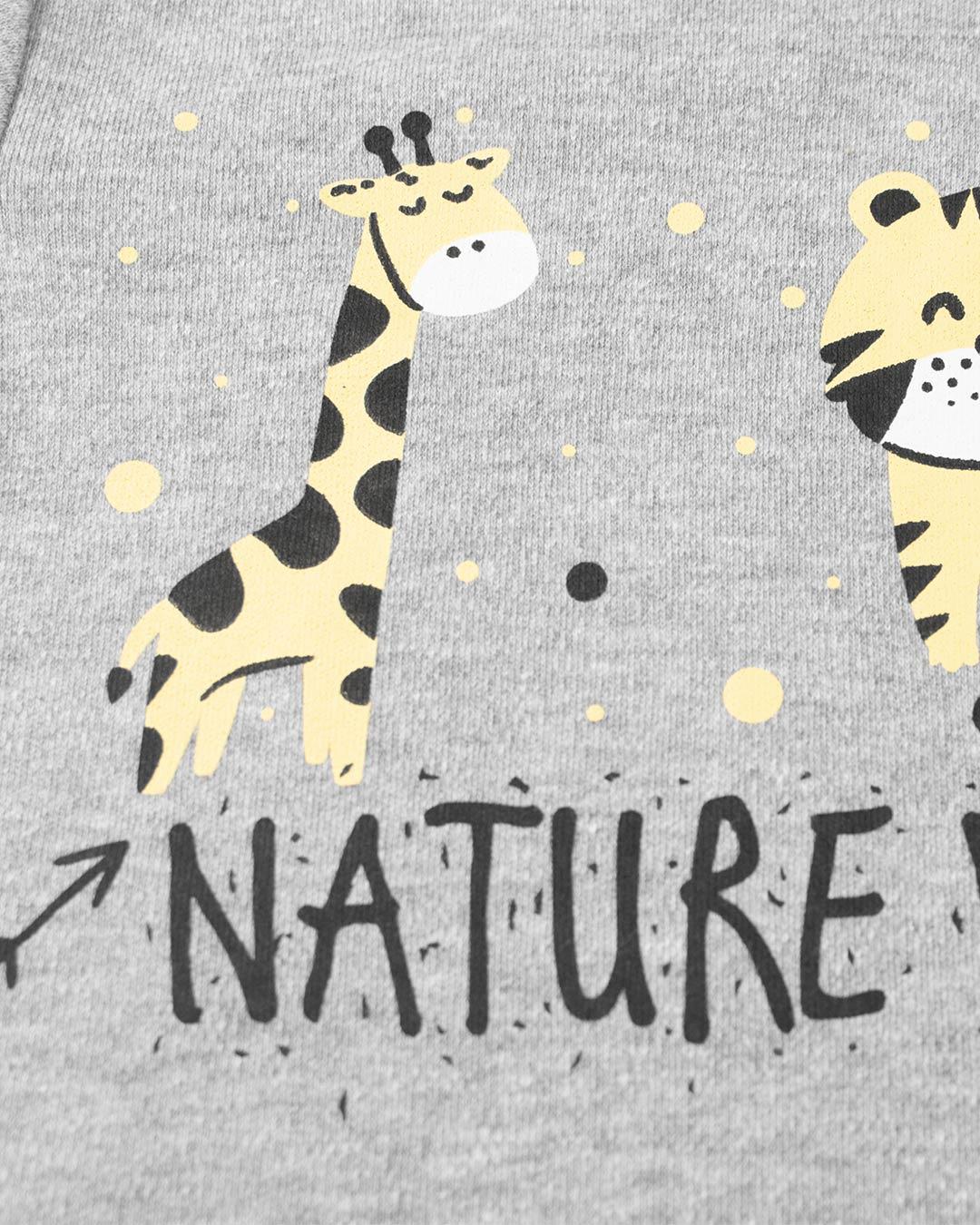 Kit Body Girafinha com Bermuda e Babador Cinza - Cara Metade