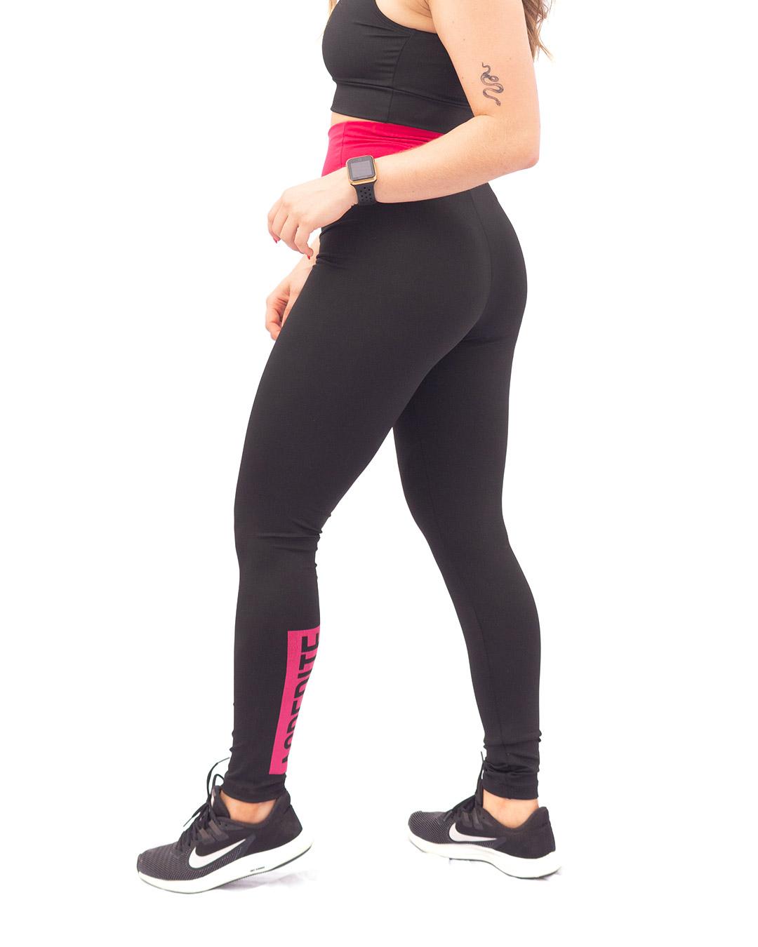 Legging Básica Preta Com Cós Rosa Pink - Movimente-se
