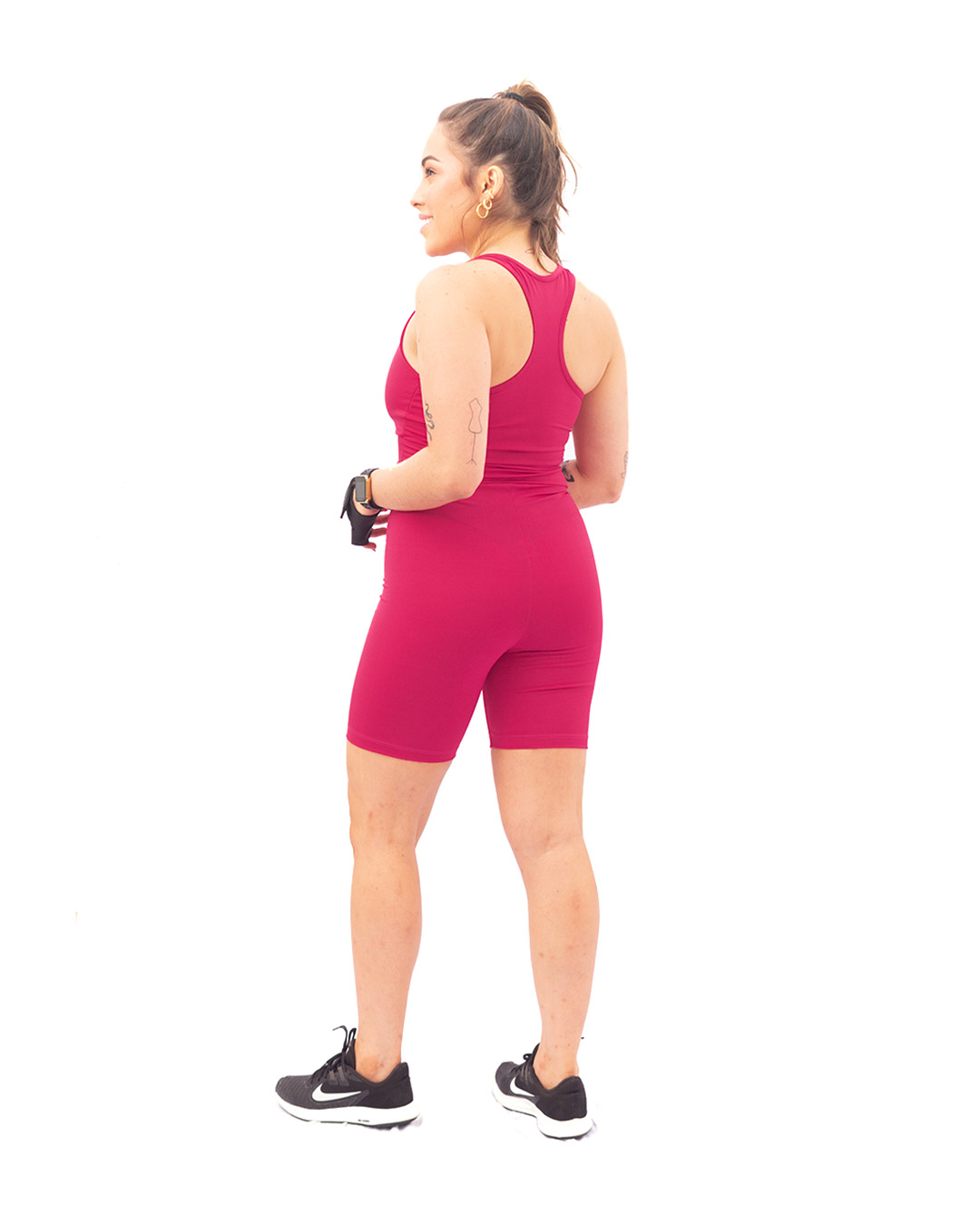 Macaquinho Fitness Básico Com Decote Em V Rosa Pink - Movimente-se
