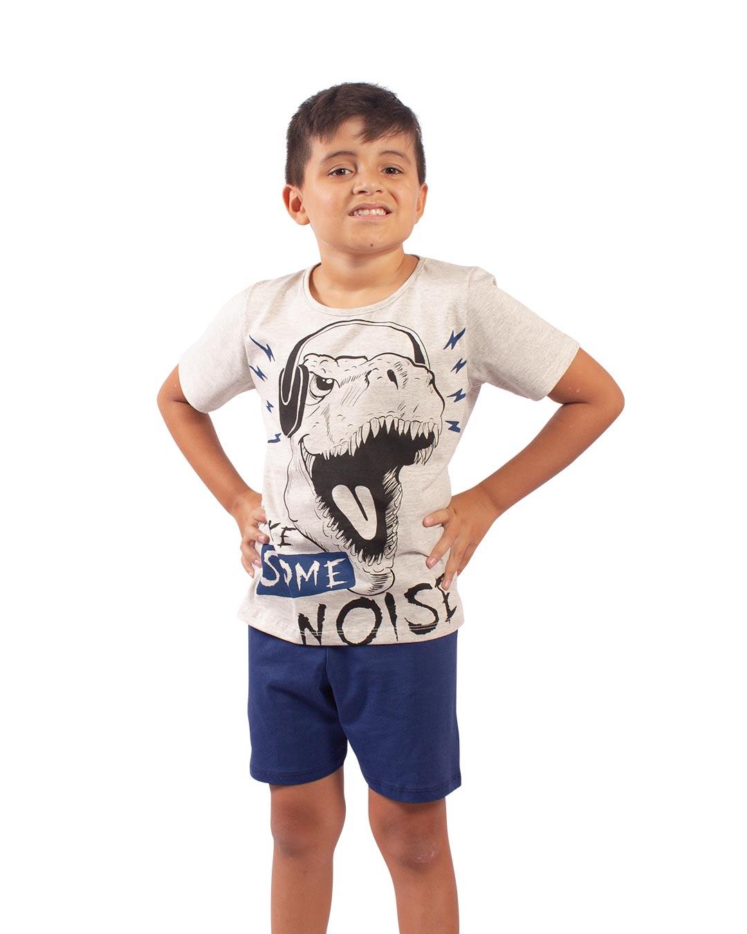 Pijama Infantil Dino Make Some Noise Cinza - Cara Metade