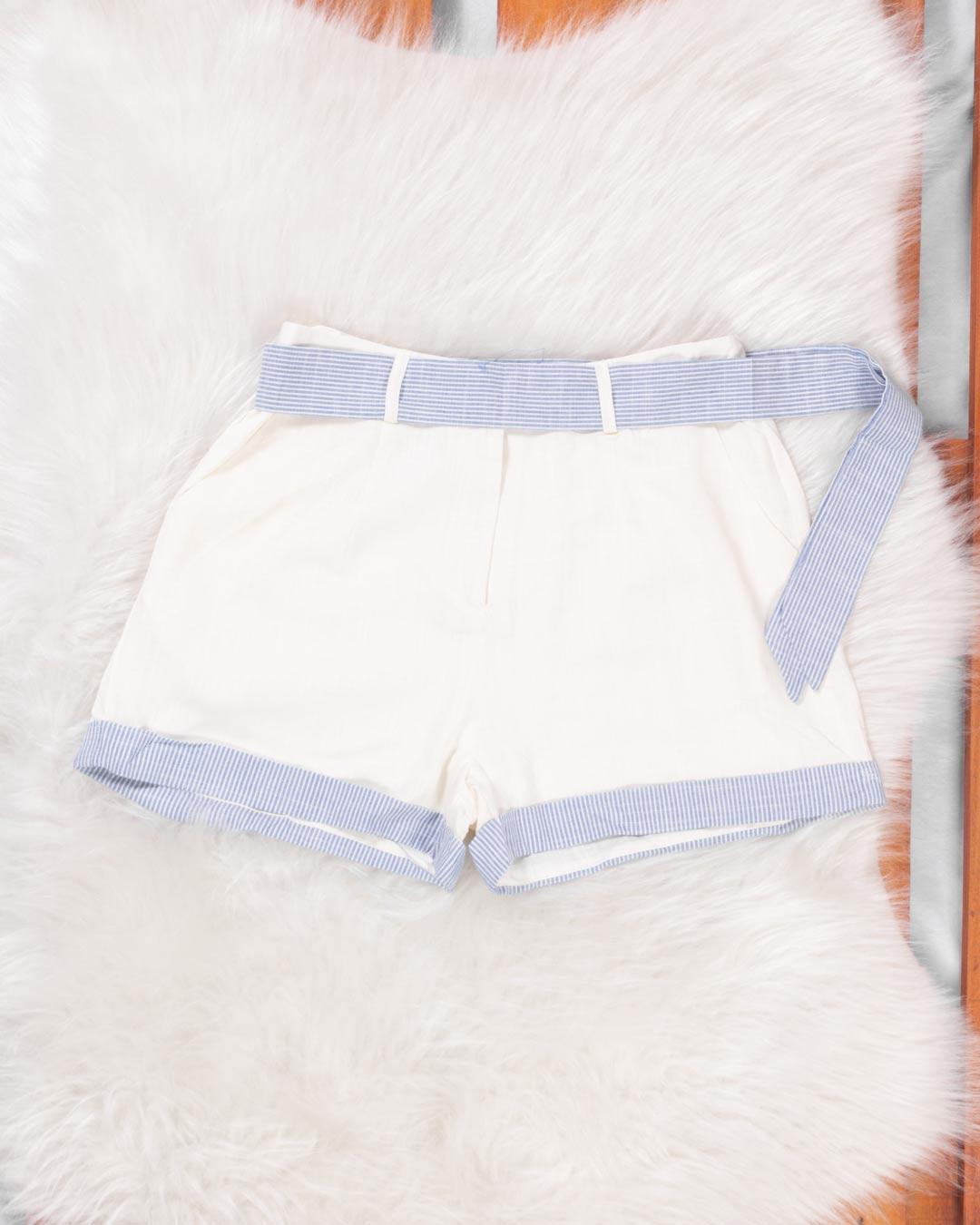 Shorts Adulto Com Barra e Cinto - Moça Bonita