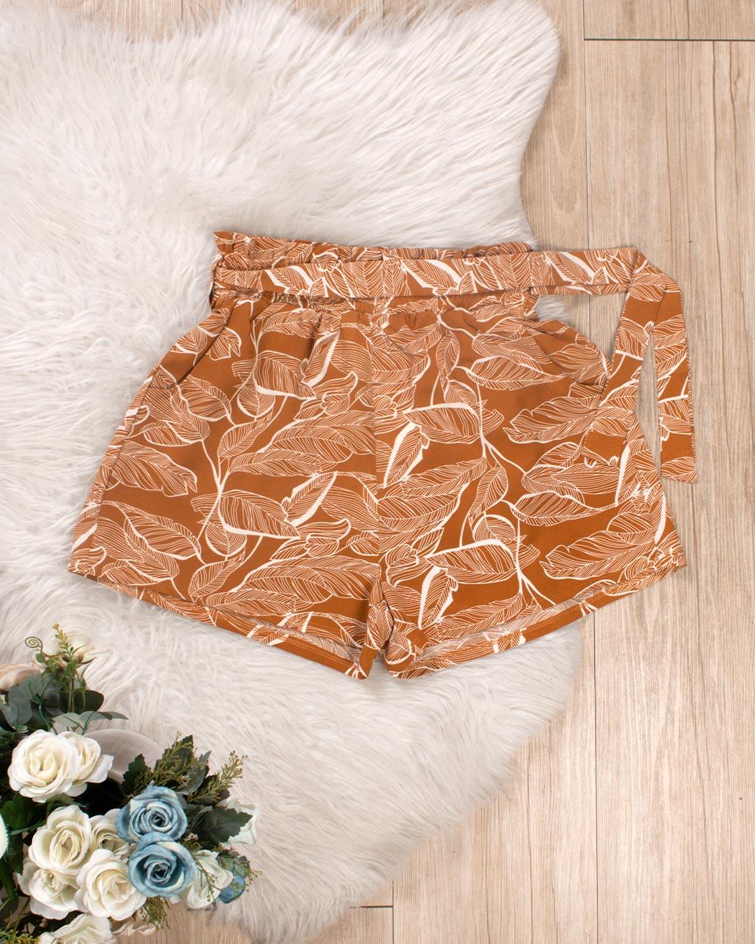 Shorts Adulto Com Cinto Estampa Folhas - Jacksnipe