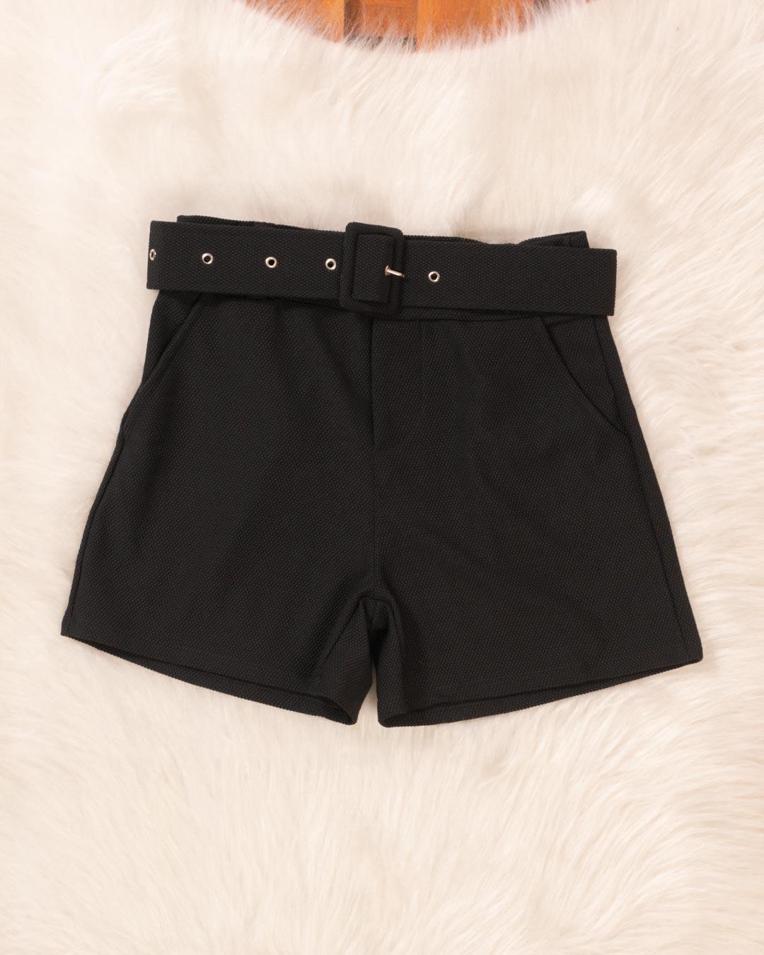 Shorts Adulto Com Cinto Fivela De Coração - Moça Bonita
