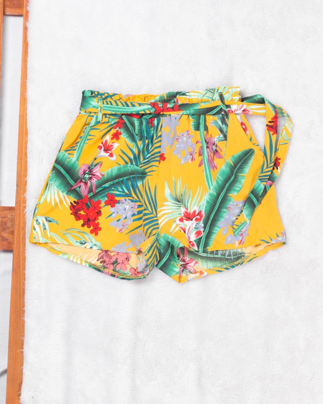 Shorts Adulto Folhas e Flores - Moça Bonita