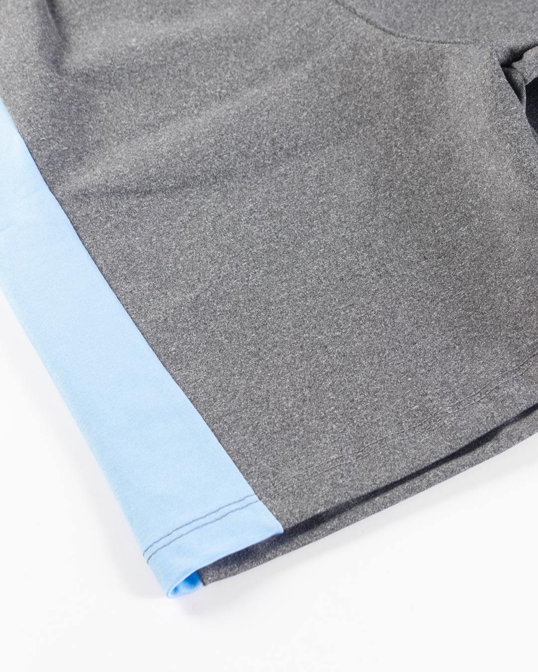 Shorts Fitness Mescla Com Barra Lateral Azul - Movimente-se