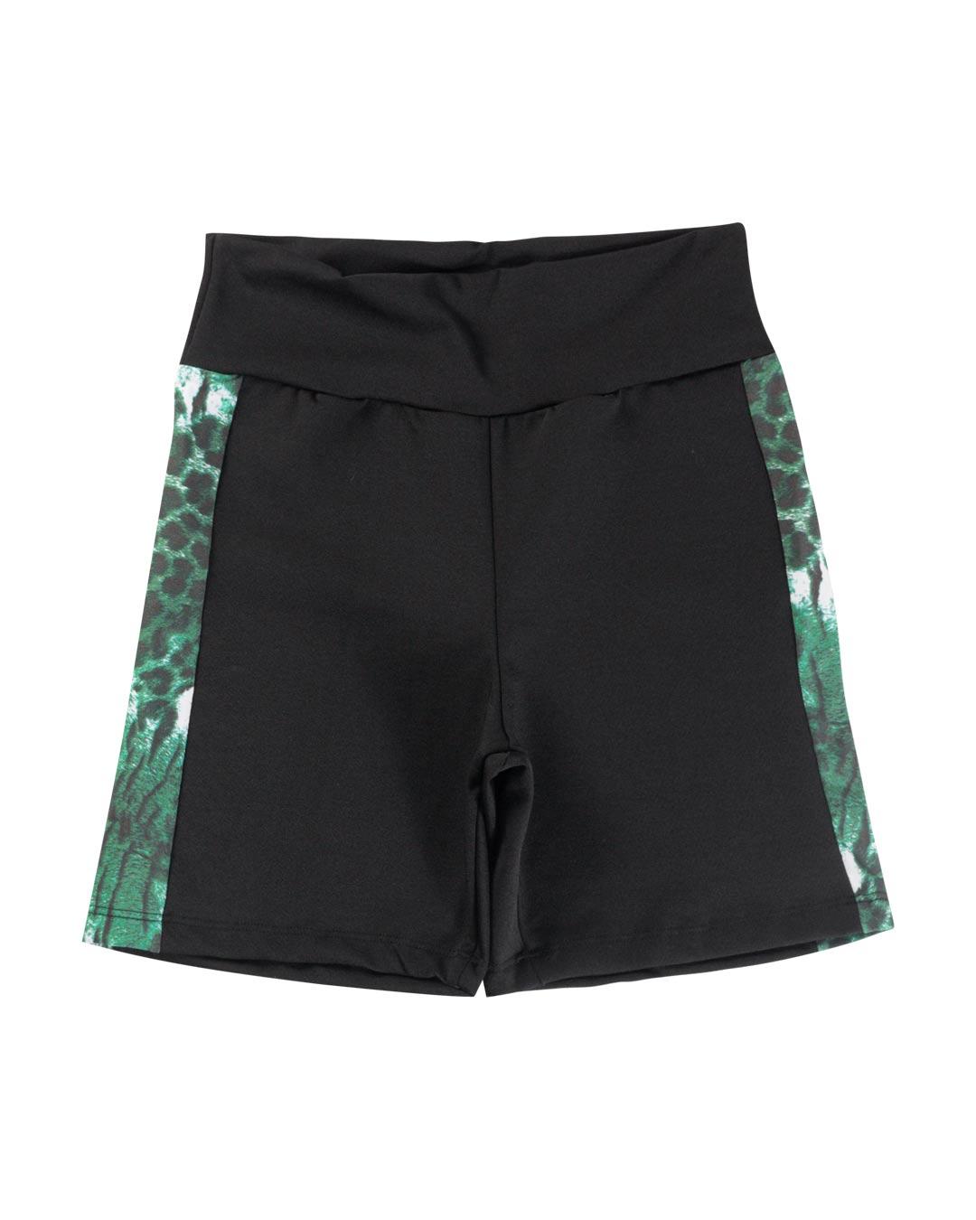 Shorts Fitness Preto Com Barra Lateral Estampa Onça Verde - Movimente-se