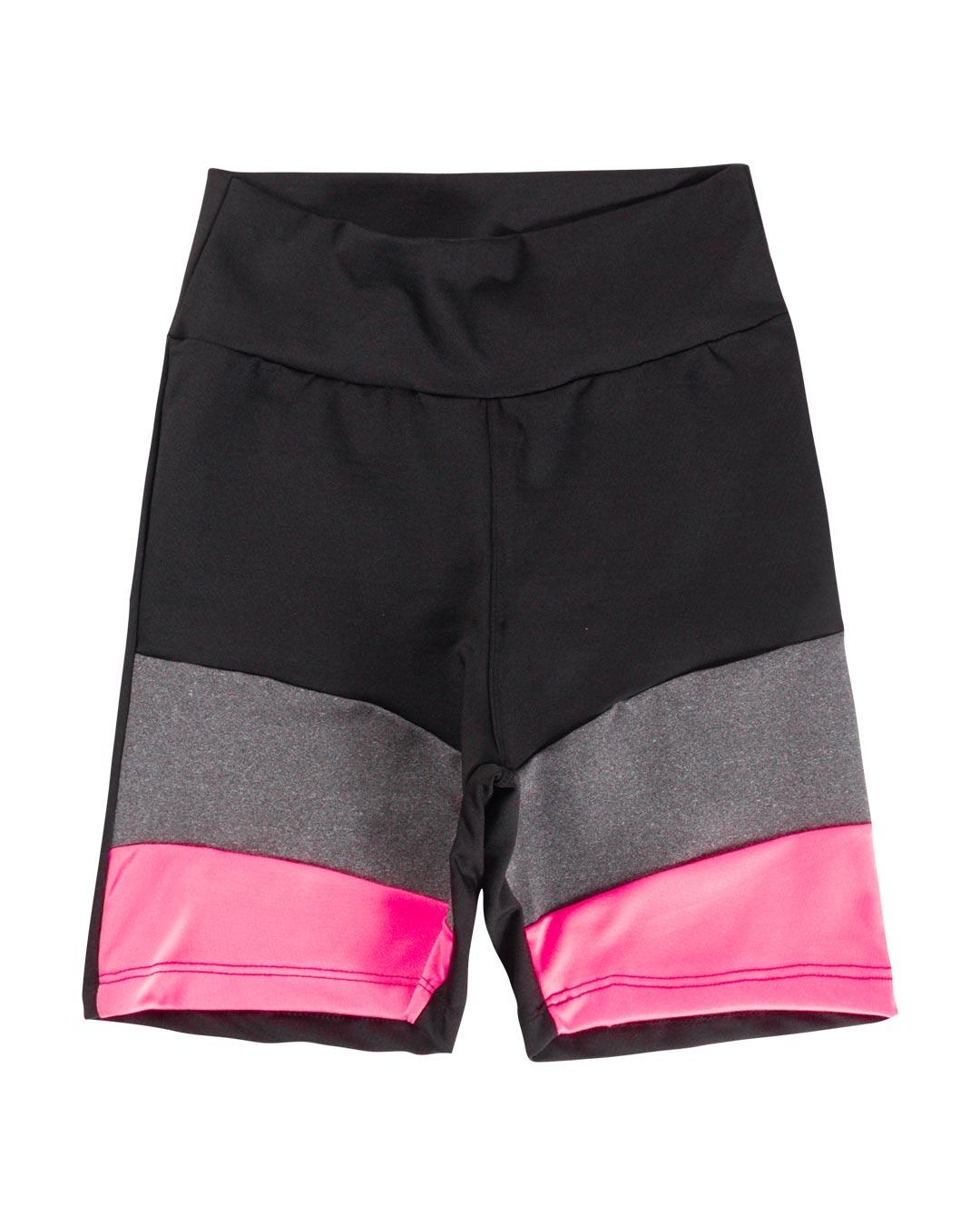 Shorts Fitness Preto Com Detalhe Mescla e Rosa - Movimente-se