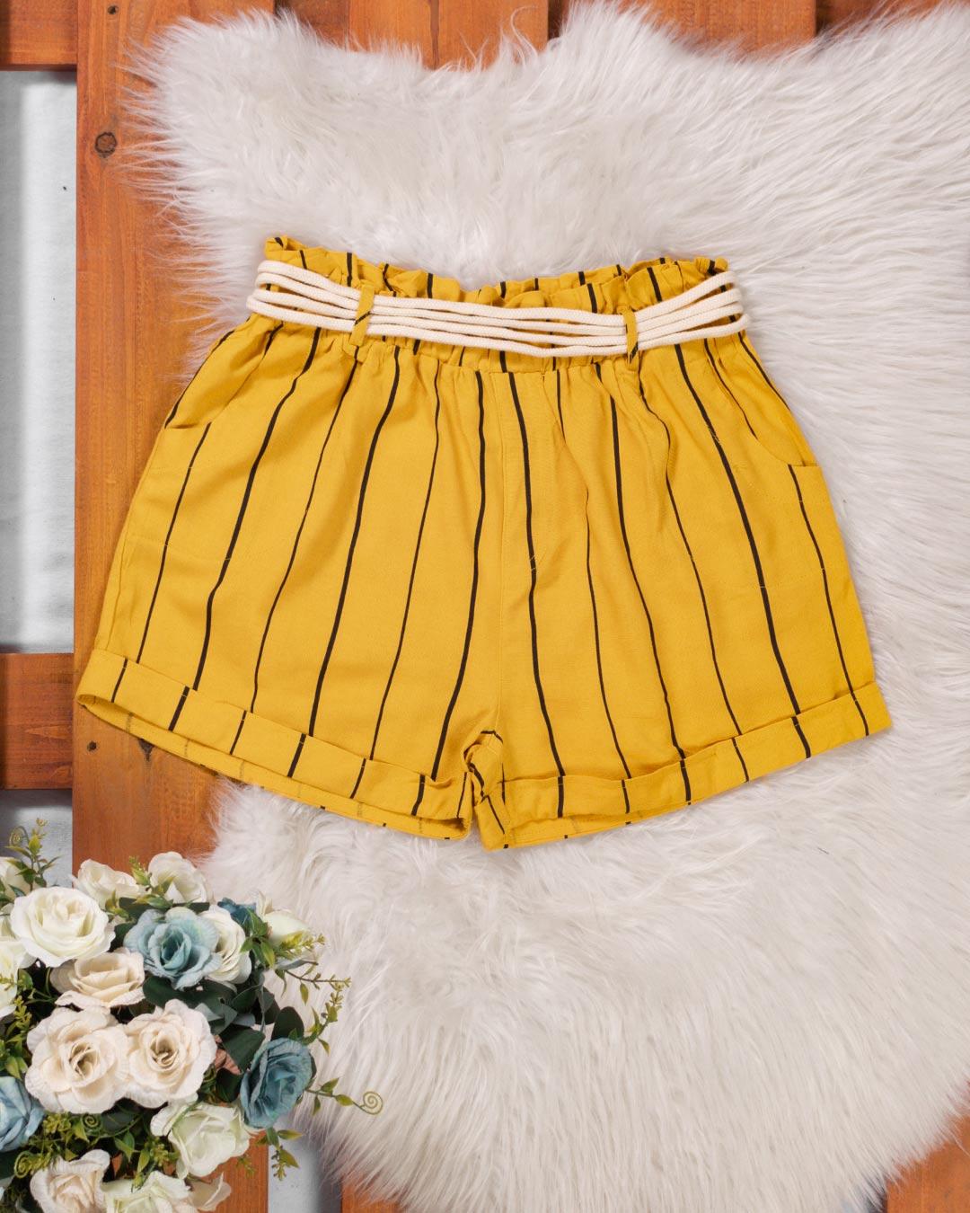 Shorts Listrado Adulto Com Cinto Estilo Cordão - Jacksnipe
