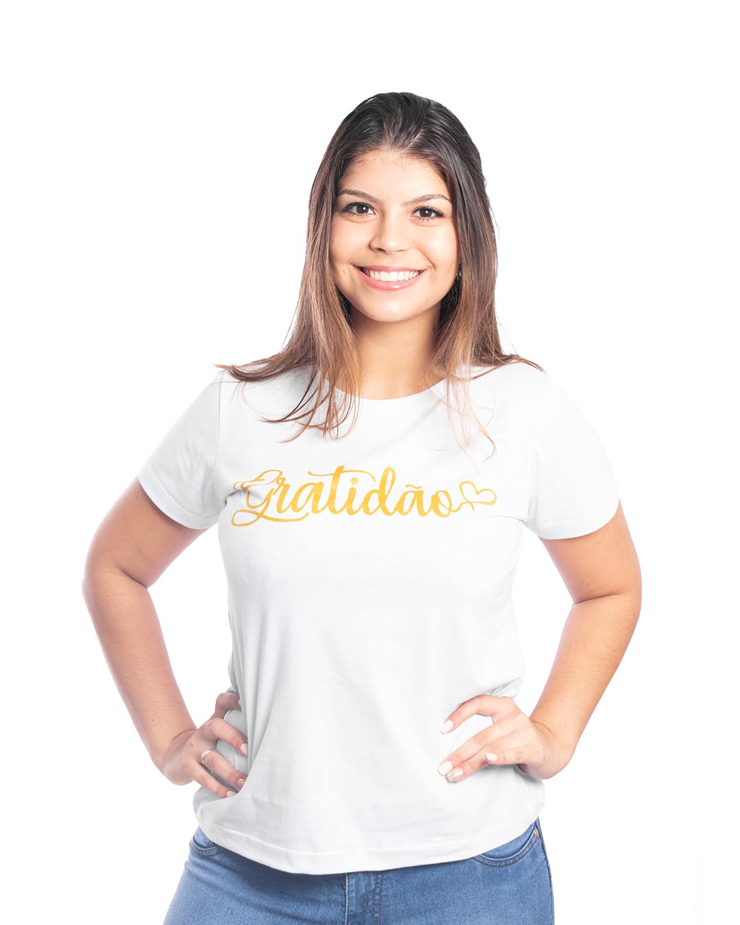 T-Shirt Adulta e Plus Size Gratidão Branco - Santa Margô