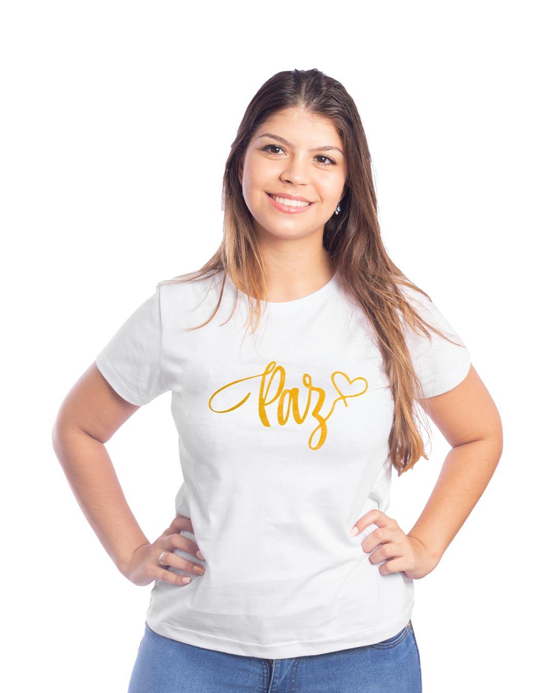T-Shirt Adulta e Plus Size Paz Branco - Santa Margô