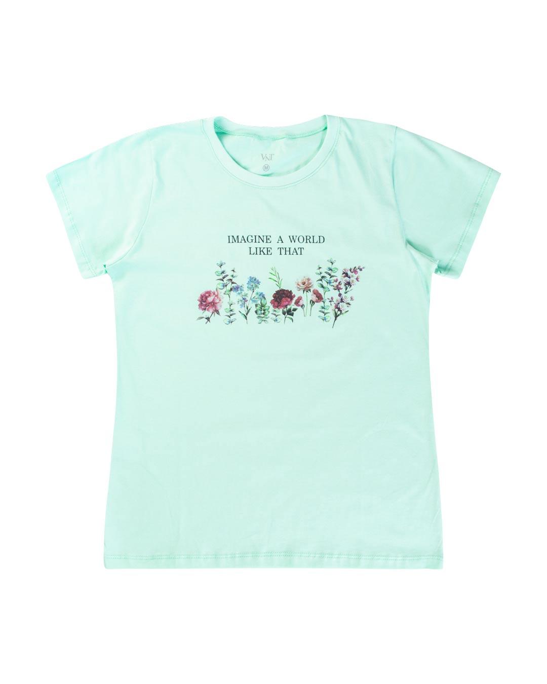 T-Shirt Adulta e Plus Size Imagine A World Like That - Santa Margô