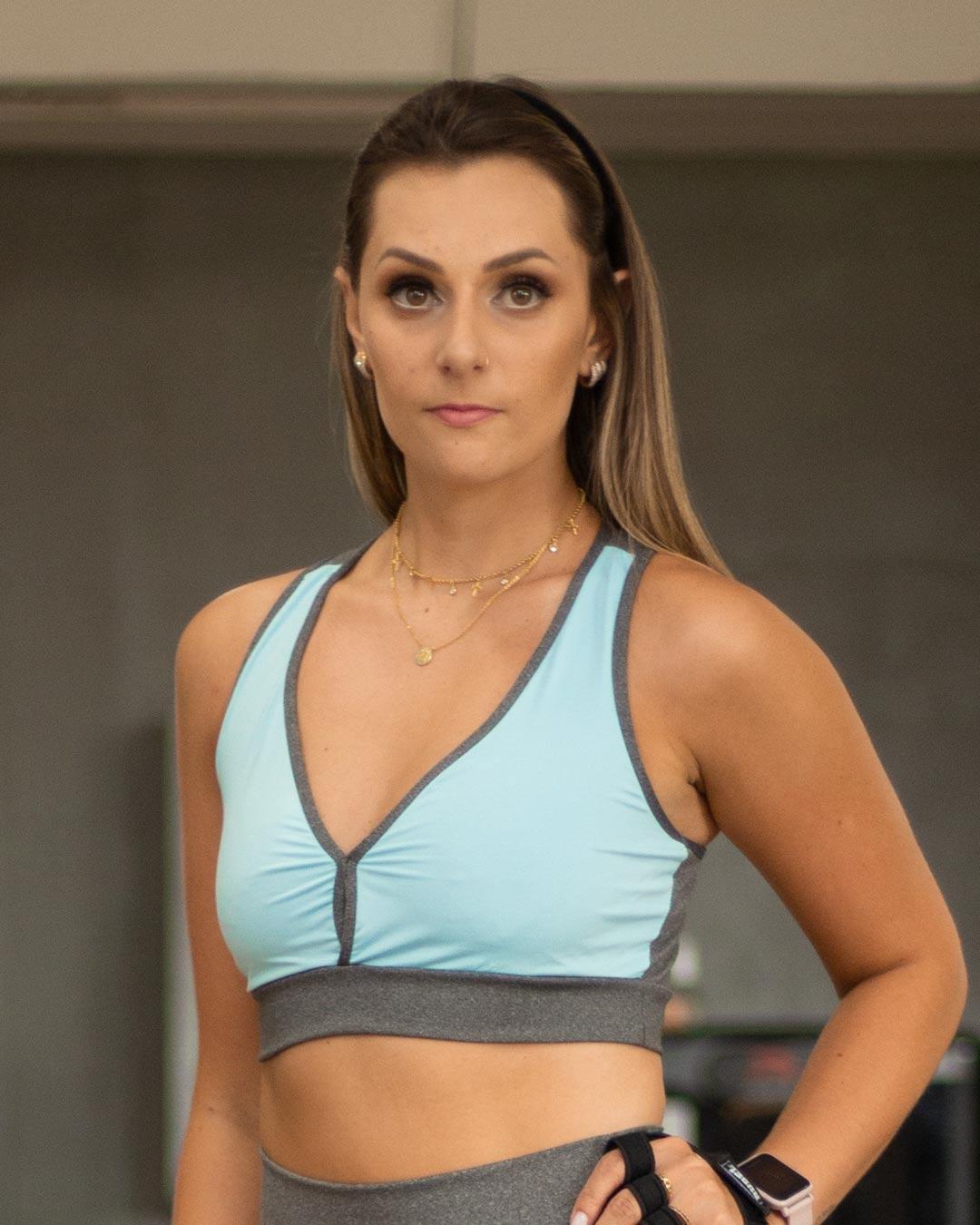 Top Fitness Azul e Mescla Com Alça Reforçada - Movimente-se