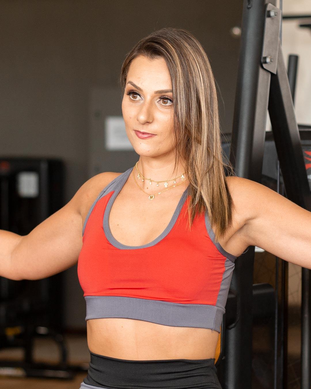 Top Fitness Mescla com Alça Cruzada - Movimente-se