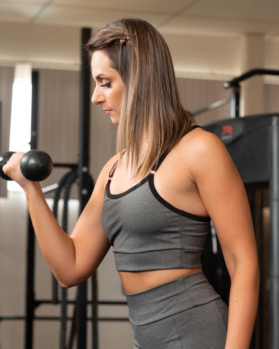 Top Fitness Mescla Com Alça Regulável Preta - Movimente-se