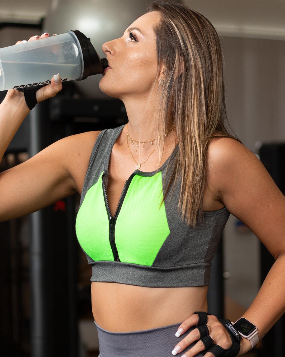 Top Fitness Mescla Com Bojo E Detalhe Verde - Movimente-se