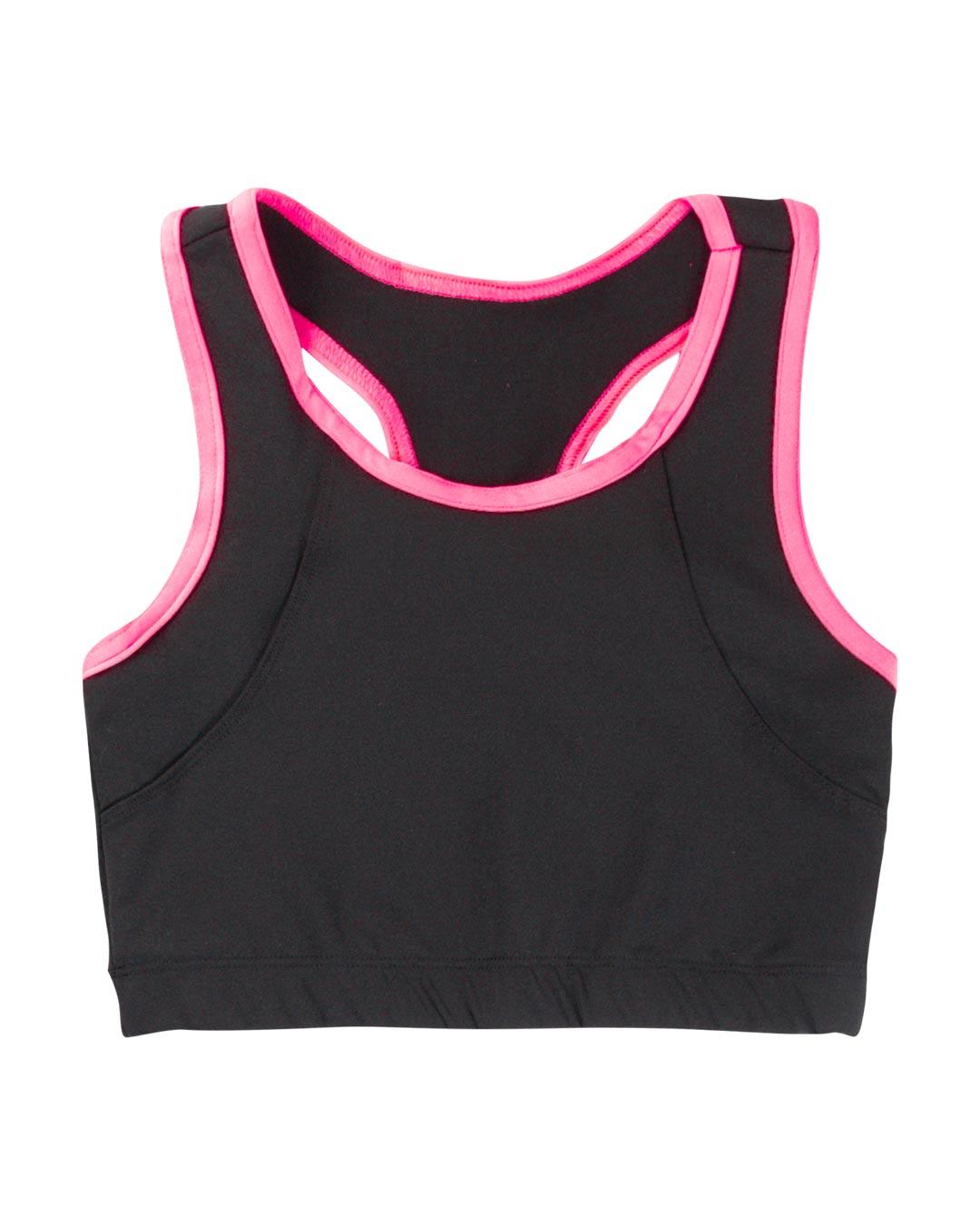 Top Fitness Preto Com Friso Rosa - Movimente-se