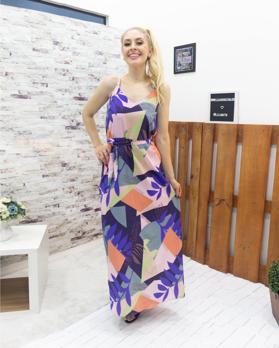 Vestido Com Alça Folhas - Moça Bonita