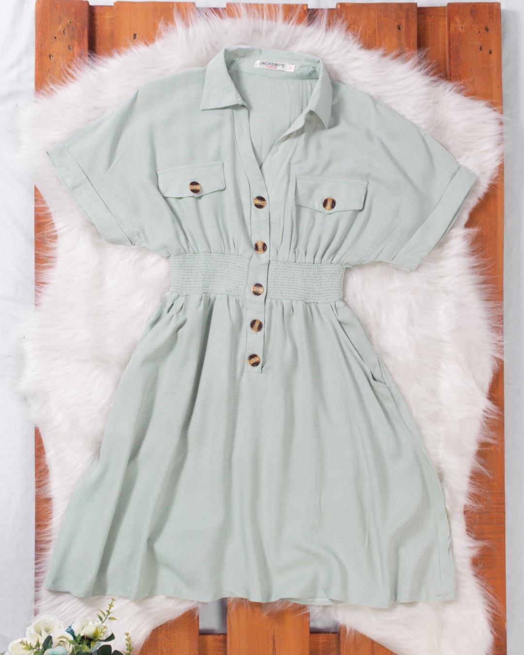 Vestido  Com Botão e Bolso Frontal - Jacksnipe