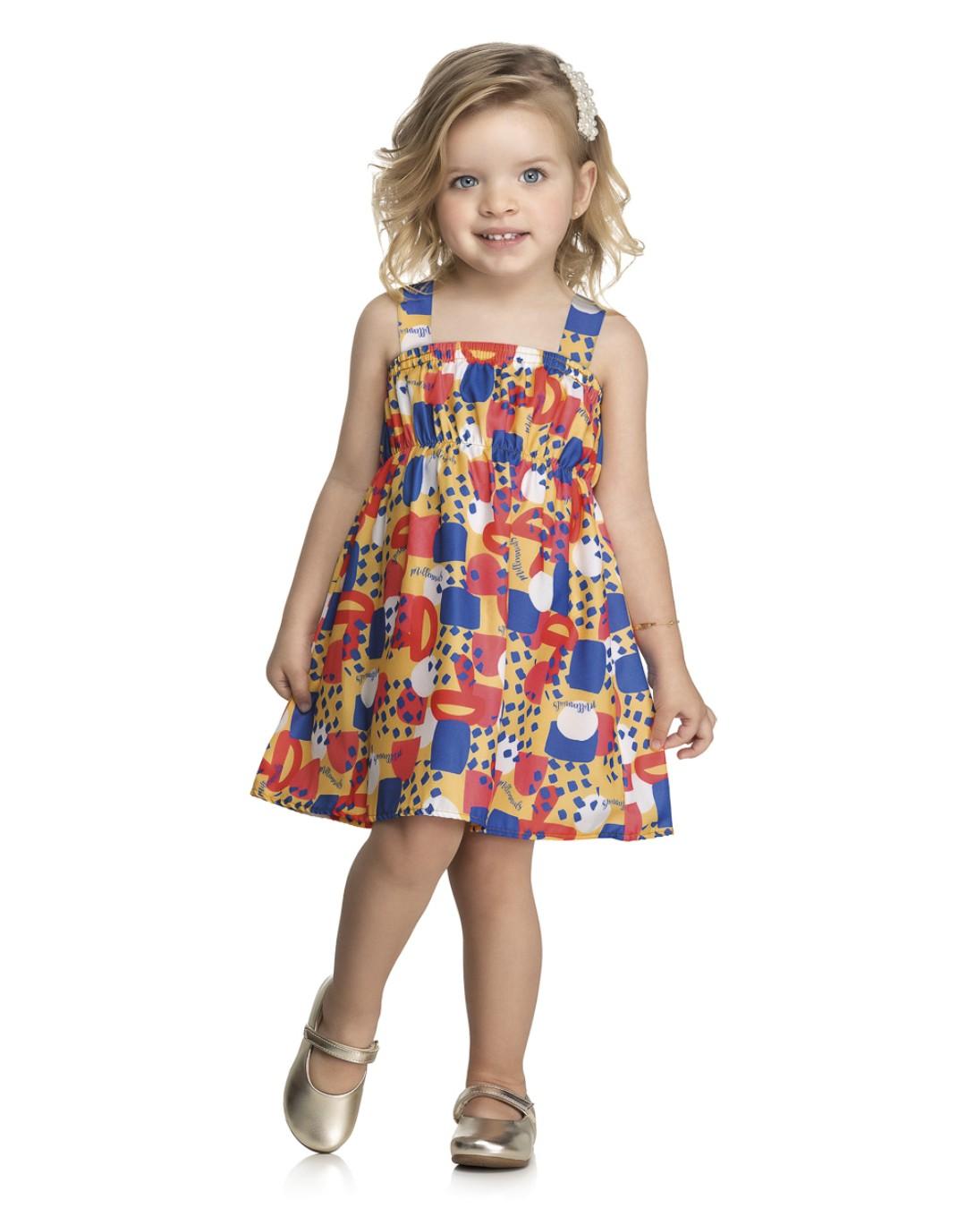 Vestido Infantil Bolinhas Coloridas - Kely & Kety