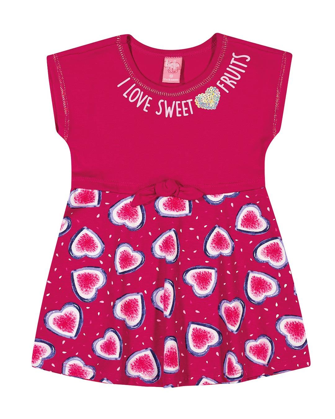 Vestido Infantil Corações Pink - Lecimar