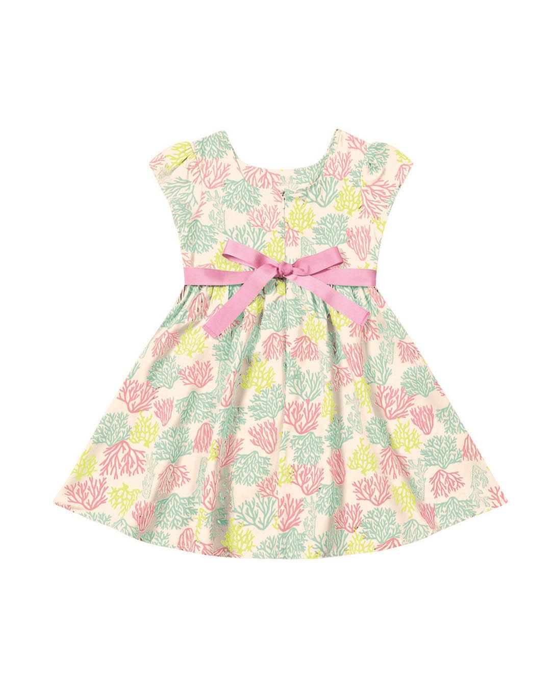 Vestido Infantil Estampado com Faixa - Playground