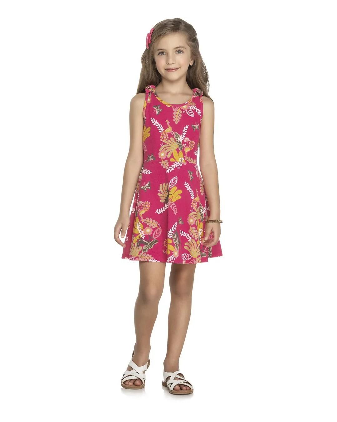 Vestido Infantil Floral Rosa Pink - Kely & Kety