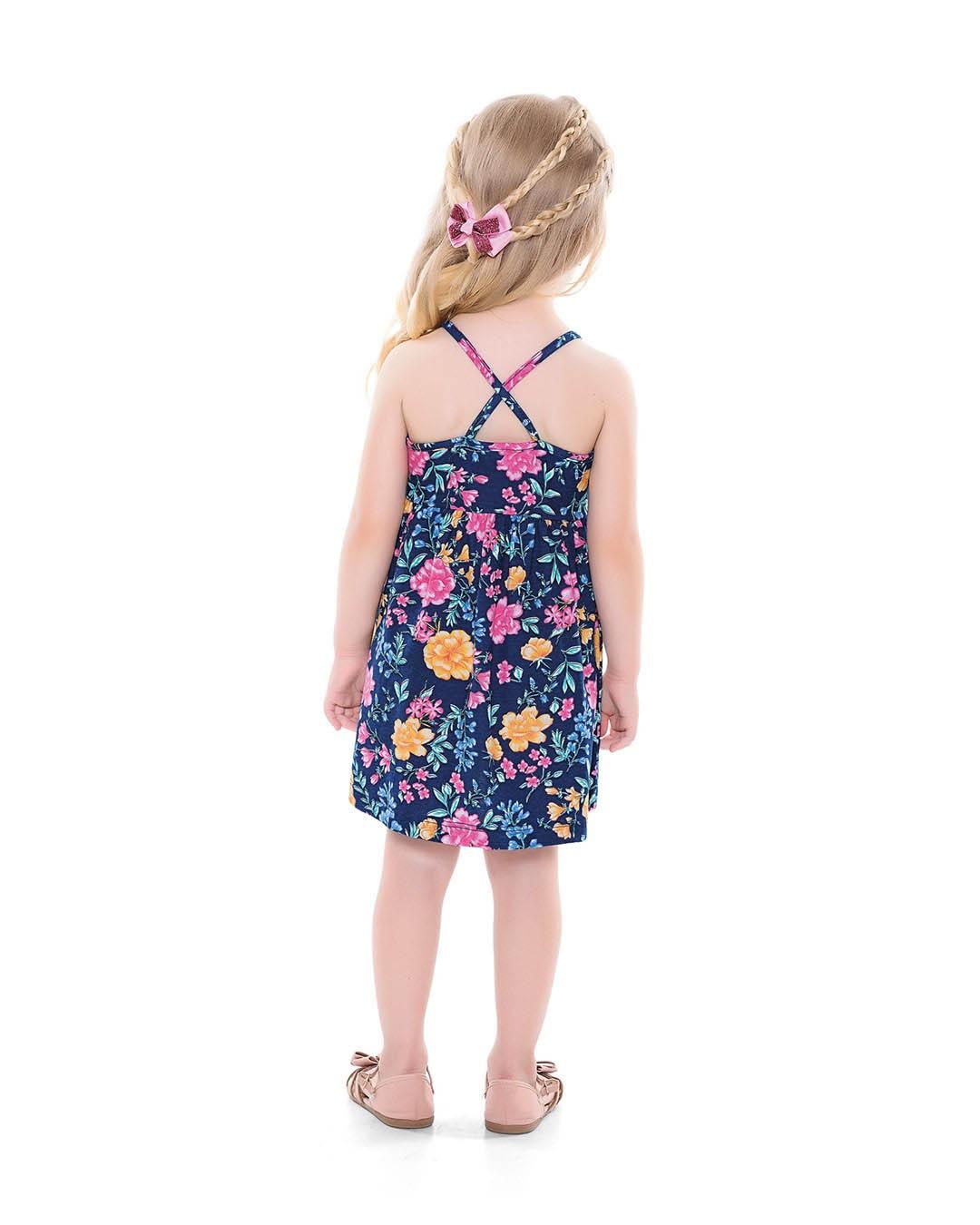 Vestido infantil Flores Marinho - For Fun