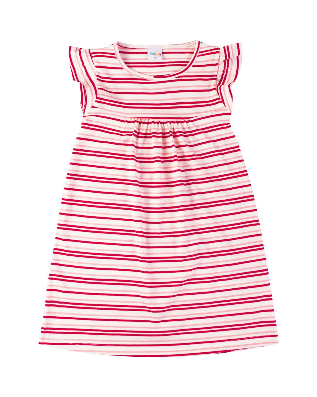 Vestido Infantil Listrado Vermelho - For Fun