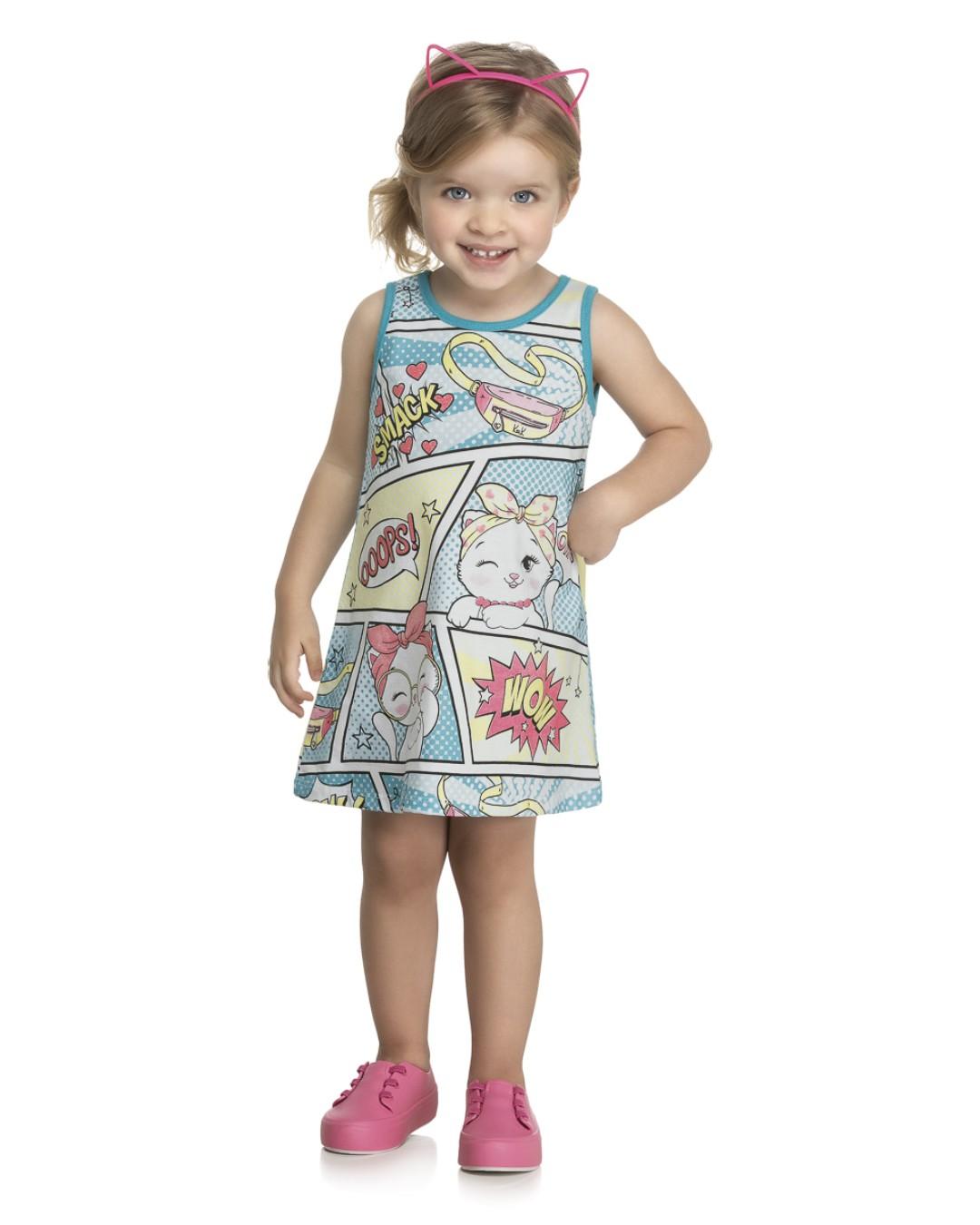 Vestido Infantil Quadrinhos Smack - Kely & Kety