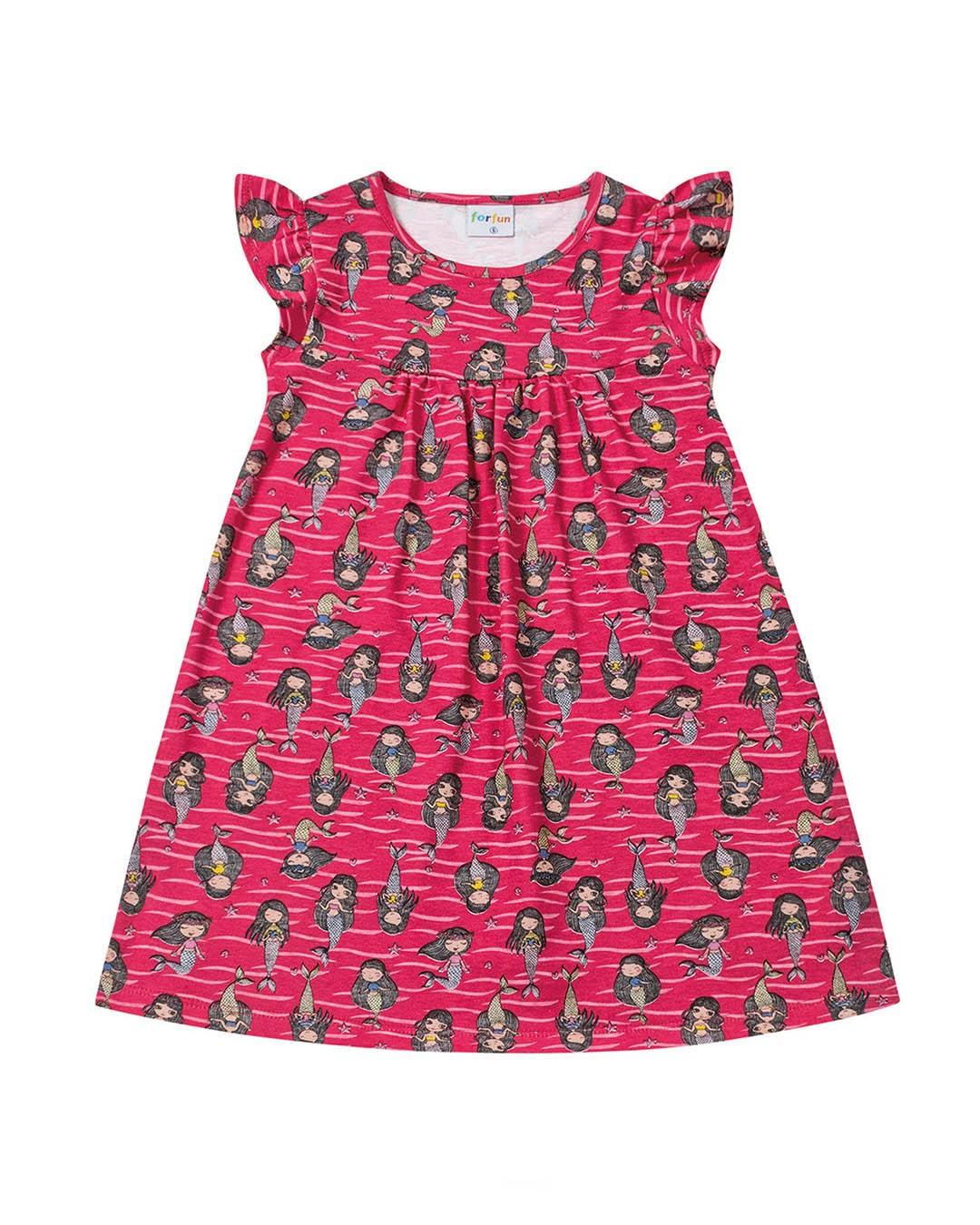 Vestido Infantil Sereias Rosa - For Fun