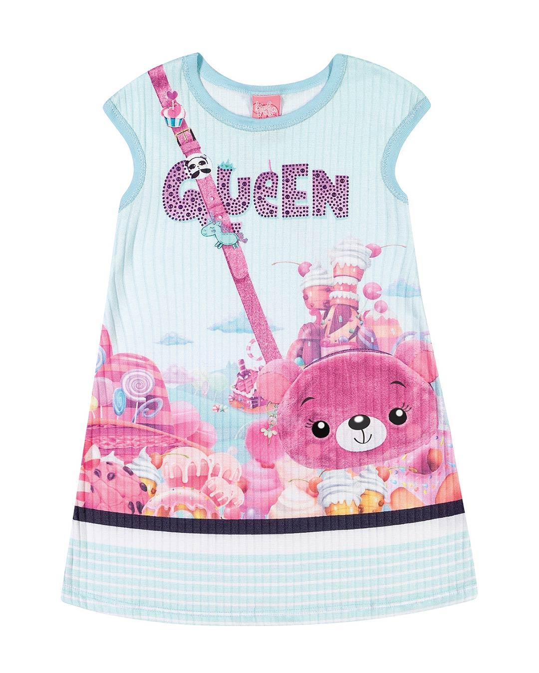 Vestido Infantil Ursinha Canelado - Lecimar
