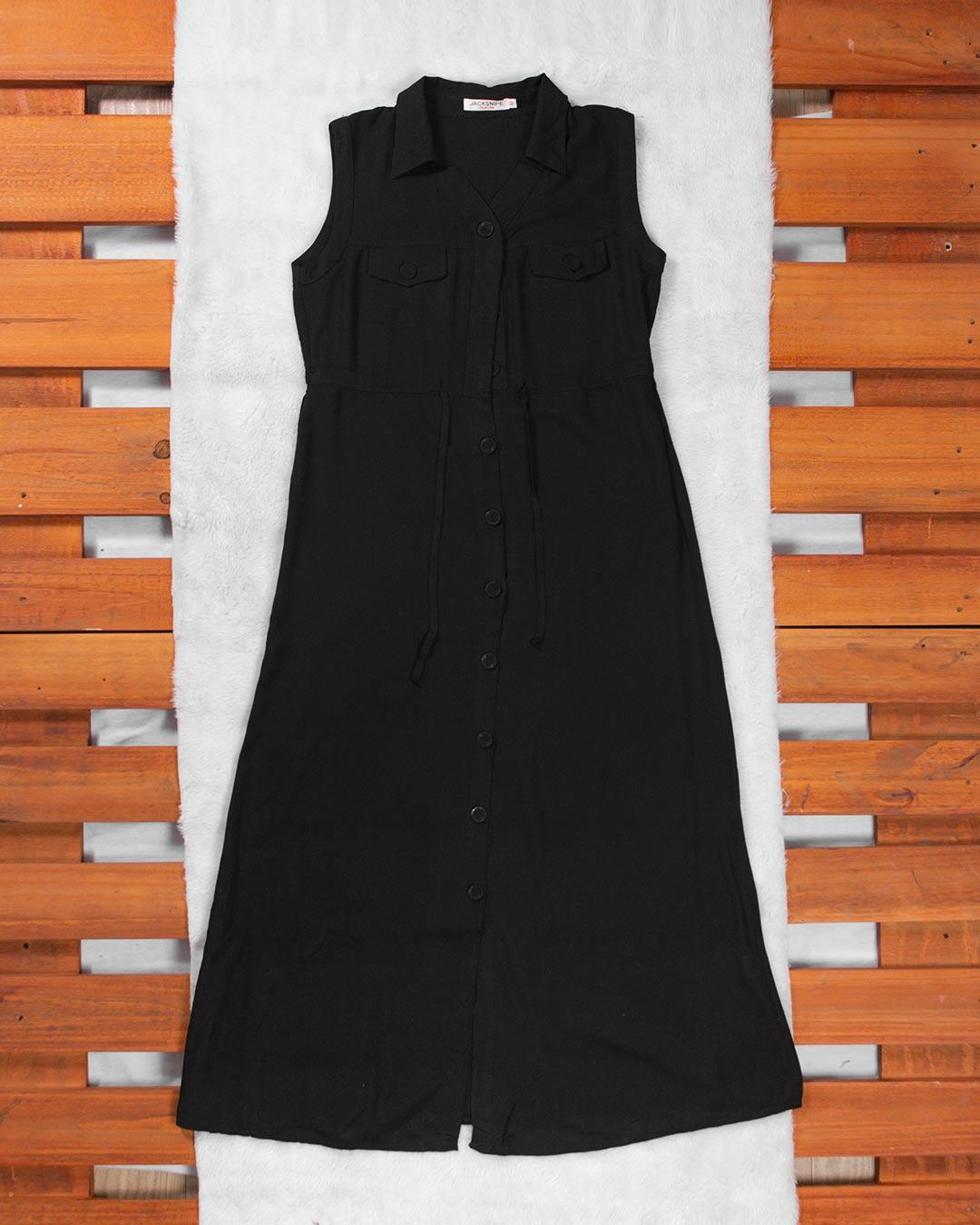 Vestido Longo Aberto Com Botão - Jacksnipe