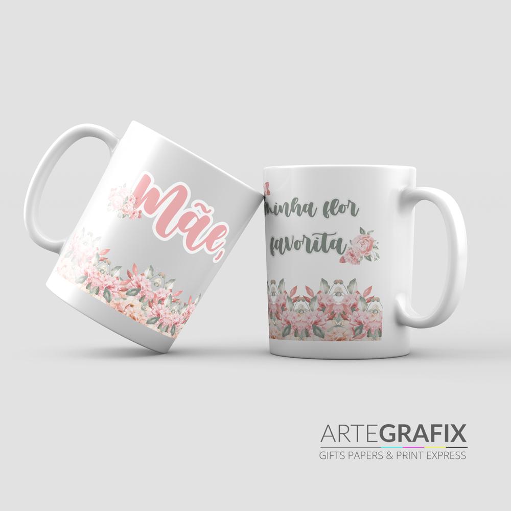 Caneca de Porcelana Dia das Mães - Rosa