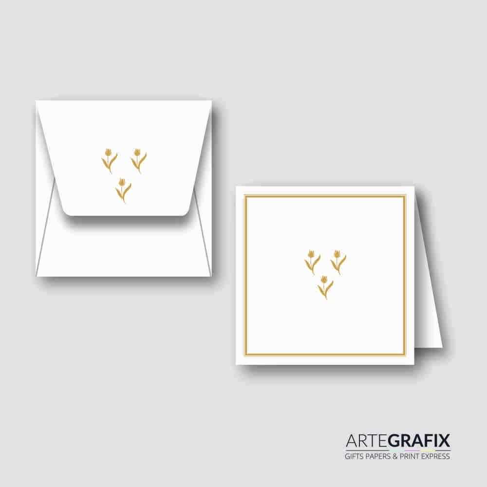 Cartão Social Dourado Floral
