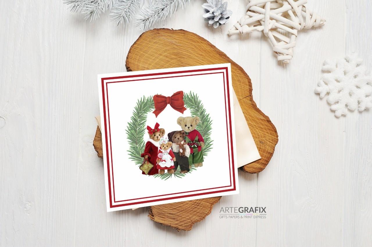 Cartão Social de Natal Família Urso - Casal