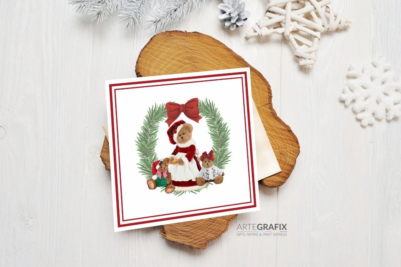Cartão Social de Natal Família Urso - Filhas