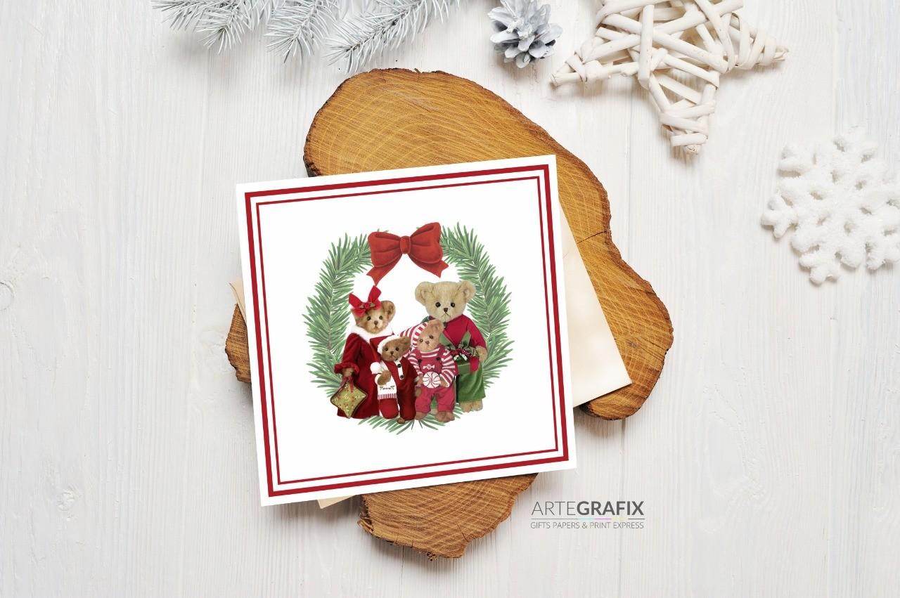 Cartão Social de Natal Família Urso - Filhos