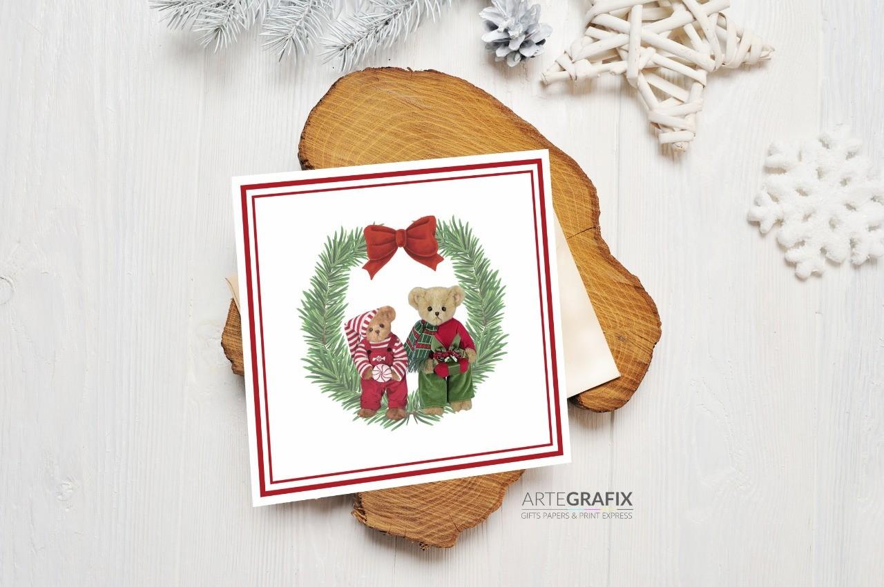 Cartão Social de Natal Família Urso - Irmãos
