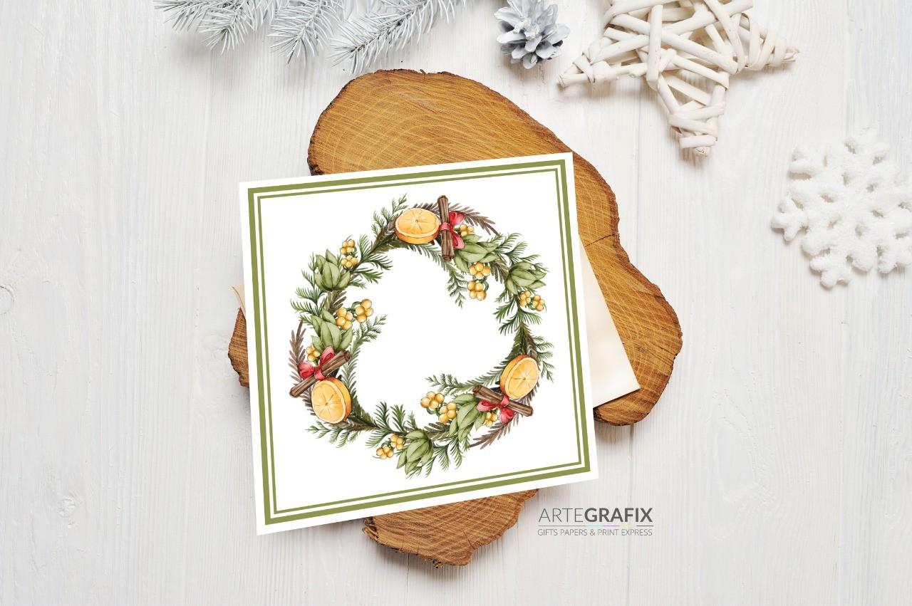 Cartão Social de Natal Guirlanda Laranja