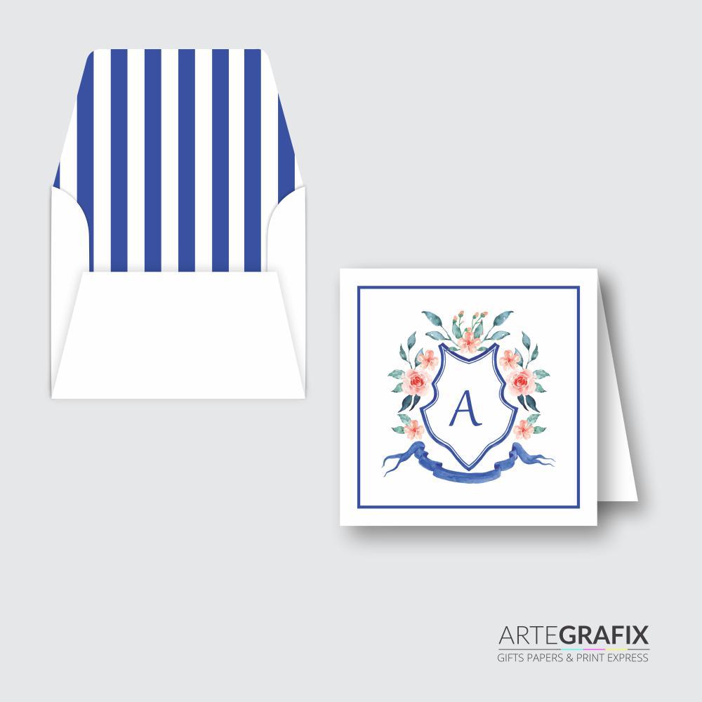 Cartão Social Monograma Azul