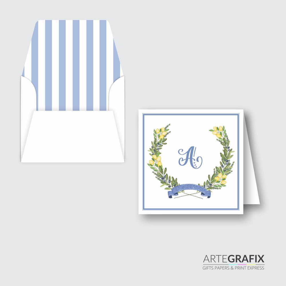 Cartão Social Monograma Azul Lilás