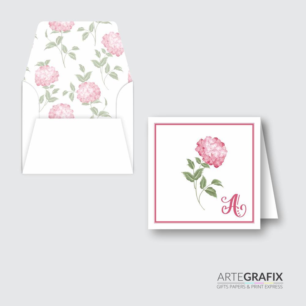 Cartão Social Monograma Flor Hortênsia
