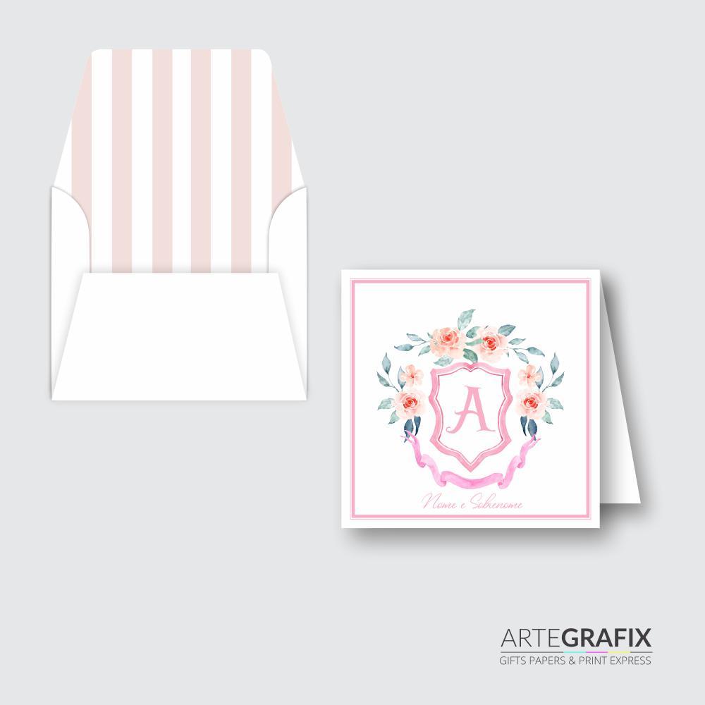 Cartão Social Monograma Rosa