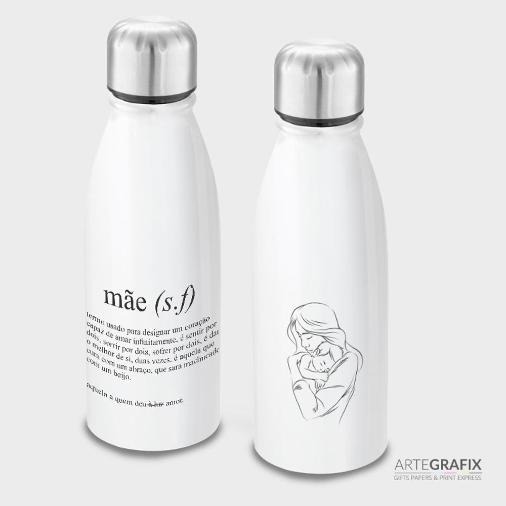 Garrafa Branca de Alumínio - Dia das Mães