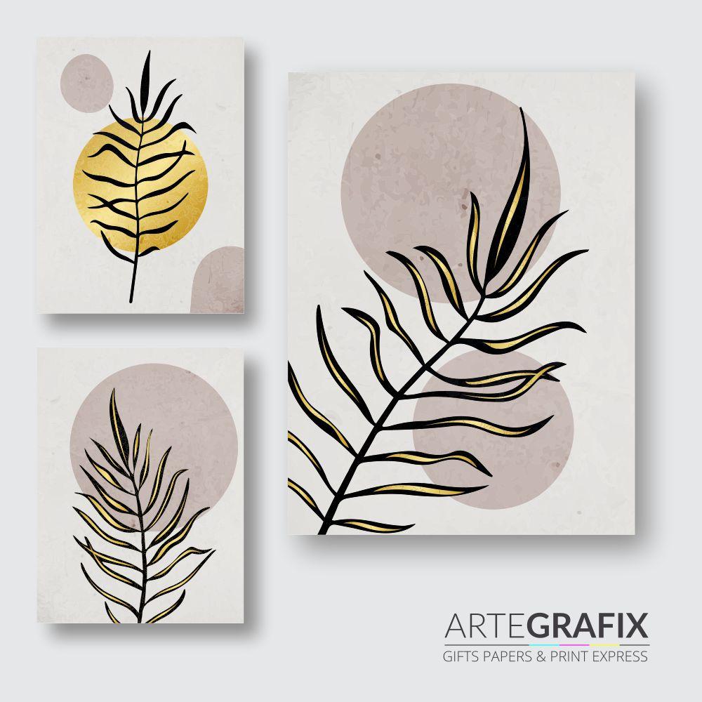 Kit de Impressões Fotográficas Minimalista Folhas Douradas