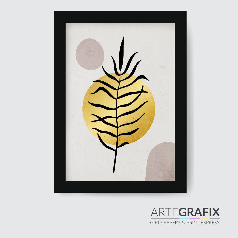 Kit de Quadros Minimalista Folhas Douradas