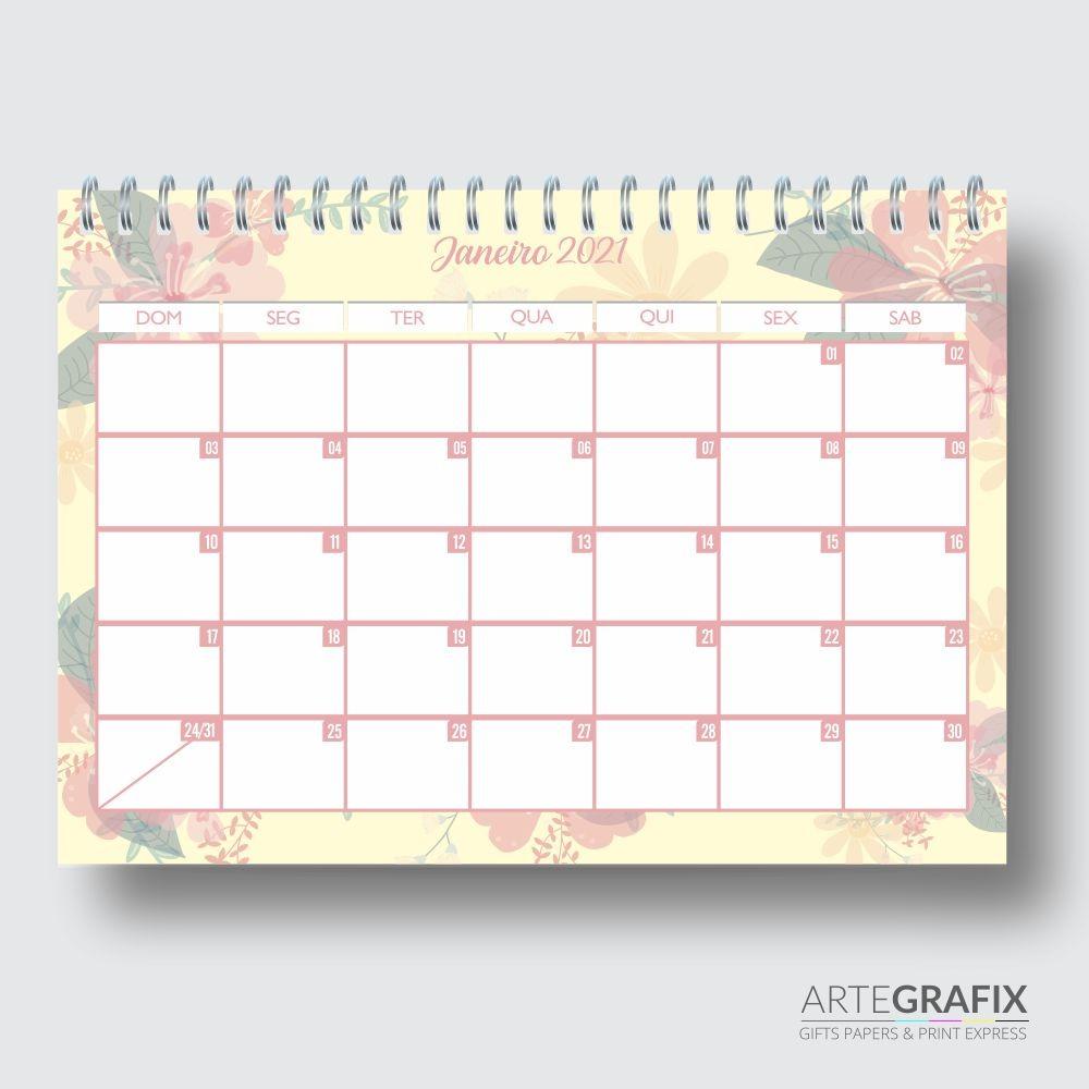 Planner Mensal Floral Amarelo