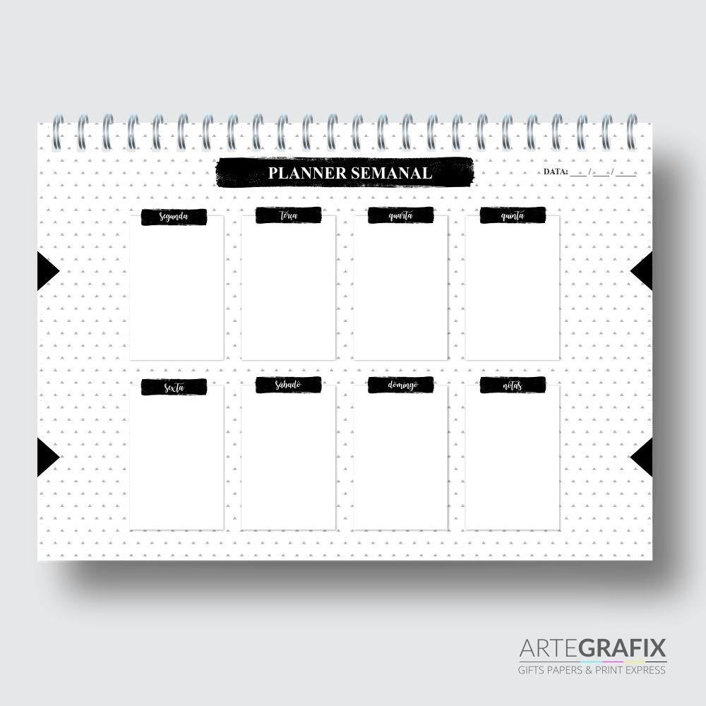 Planner Semanal Preto e Branco