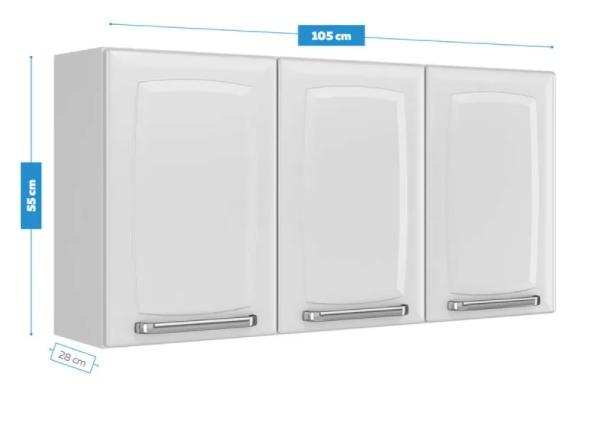 Armário Aéreo Itatiaia Luce 3 Portas de Cozinha Branco  - Casa Mattos